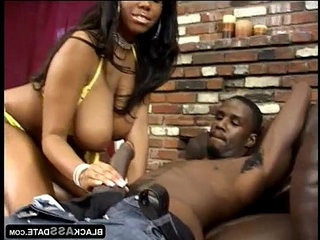 Black bitch with round huge tits smoking and jerking