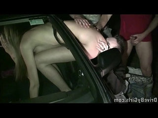 Kitty Jane stuck her pussy through the car window in public for anyone to fuck