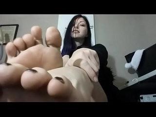 goth bare feet black toe polish