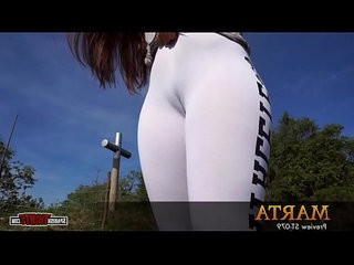 Fat bottomed girl in white tights cameltoe