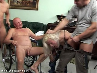 Rough pissing gangbang with an old guy