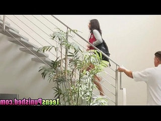 Horny hot babe Rachael got punished by hard pole