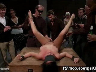 Bdsm brunette on wooden box fucked