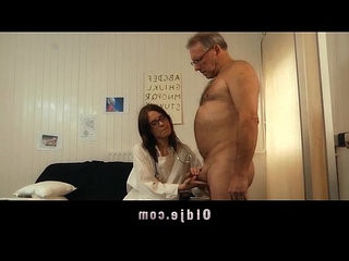 Young doctor fucking sucking old patient cock with her glasses