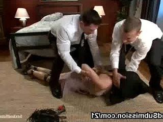 Big breasts bound brunette Chanel Preston fucked by two cops