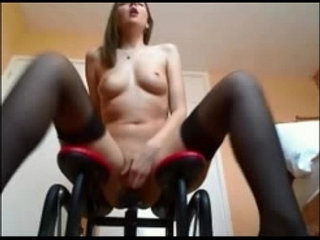 Horny girl riding her new sex machine