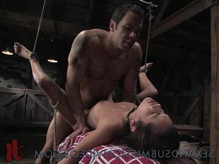 Bound sexy Asain anal fucked and manhandled